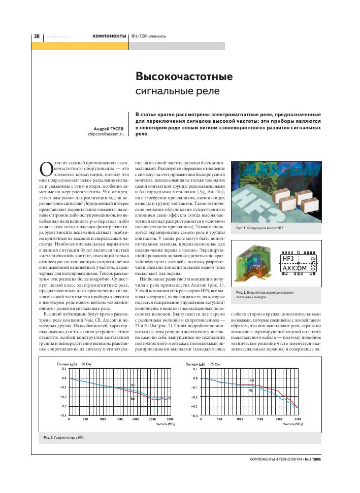Высокочастотные сигнальные реле – тема научной статьи по общим и ... a71bd679f19
