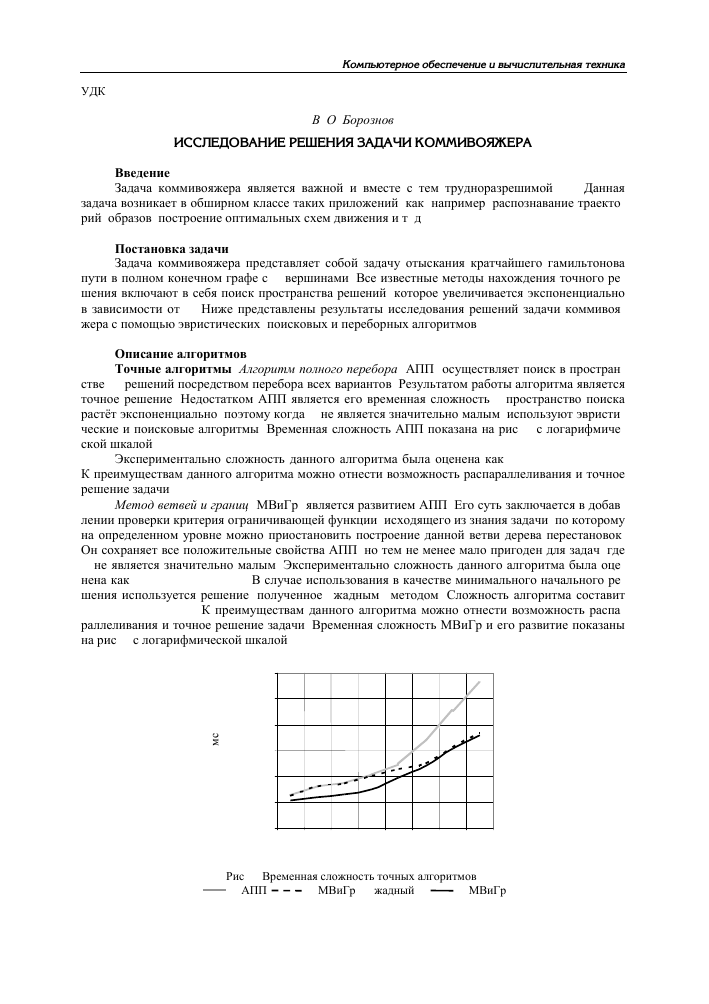 Научная статья по оценке временной сложности алгоритмов