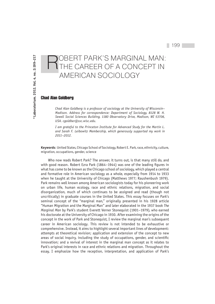 Robert Park's marginal man: the career of a concept in