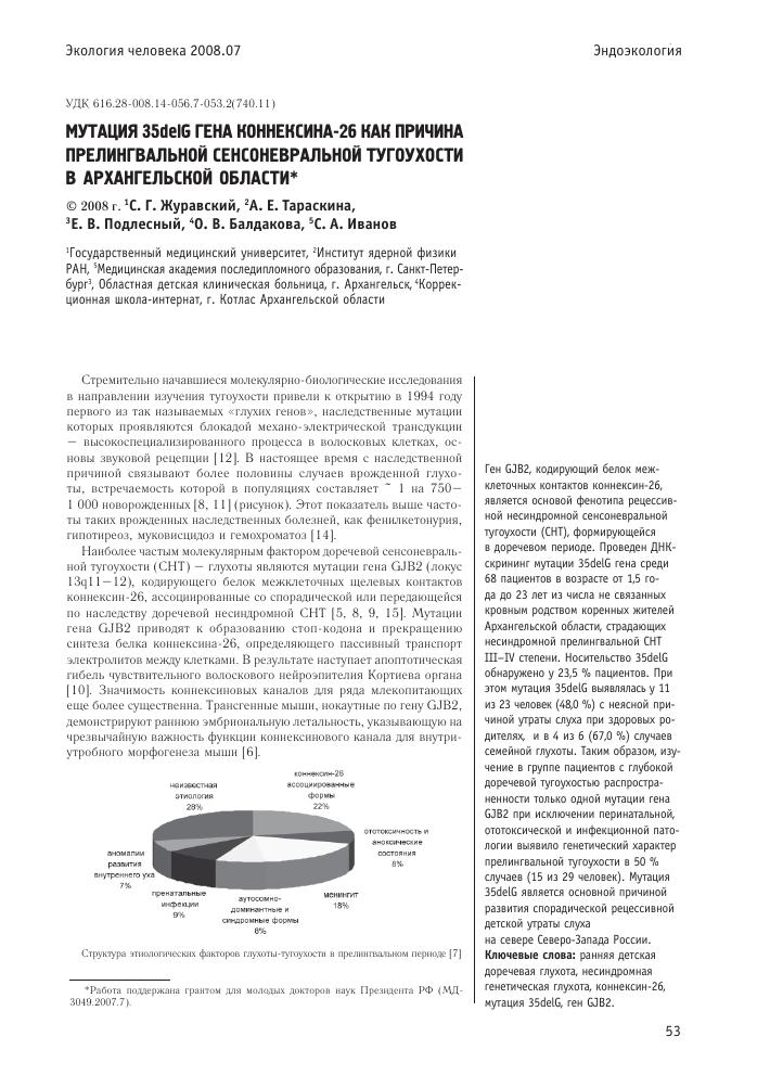 Гетерозиготное носительство мутации 35delg в гене коннексина 26 gjb2