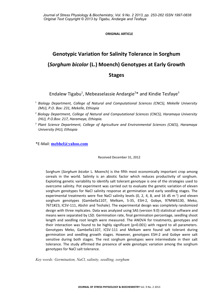 Genotypic variation for salinity tolerance in sorghum