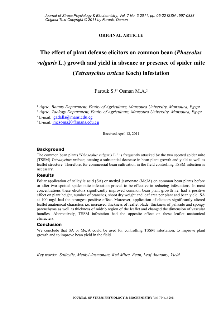 The effect of plant defense elicitors on common bean (Phaseolus ...