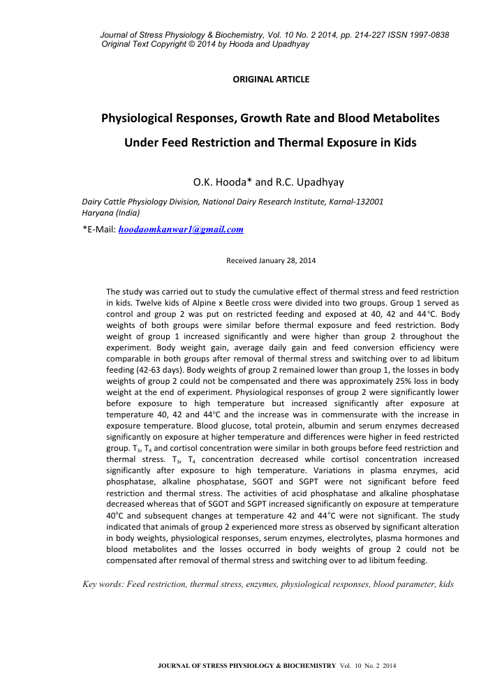 Physiological responses, growth rate and blood metabolites