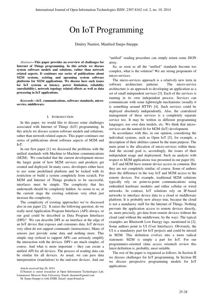 On IoT programming – тема научной статьи по автоматике и