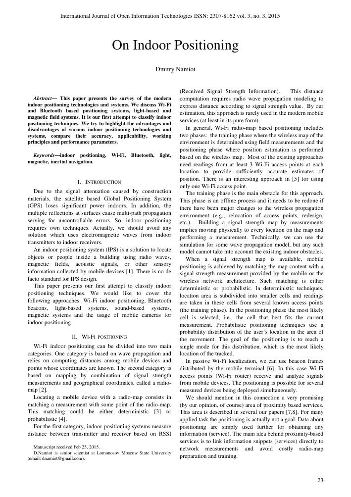 On indoor positioning – тема научной статьи по физике