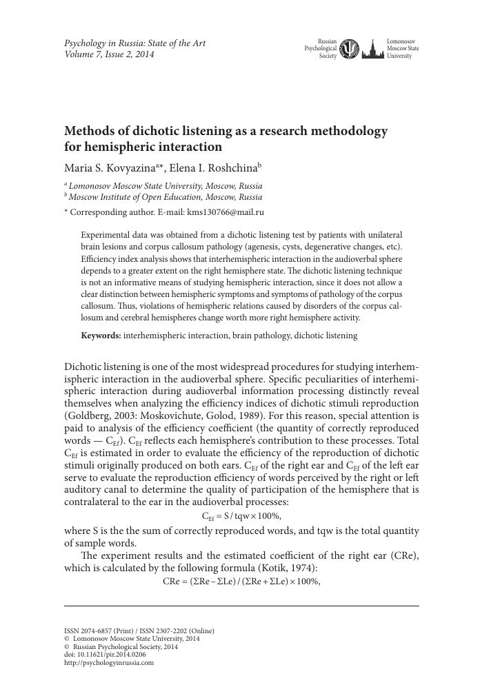 Methods Of Dichotic Listening As A Research Methodology For