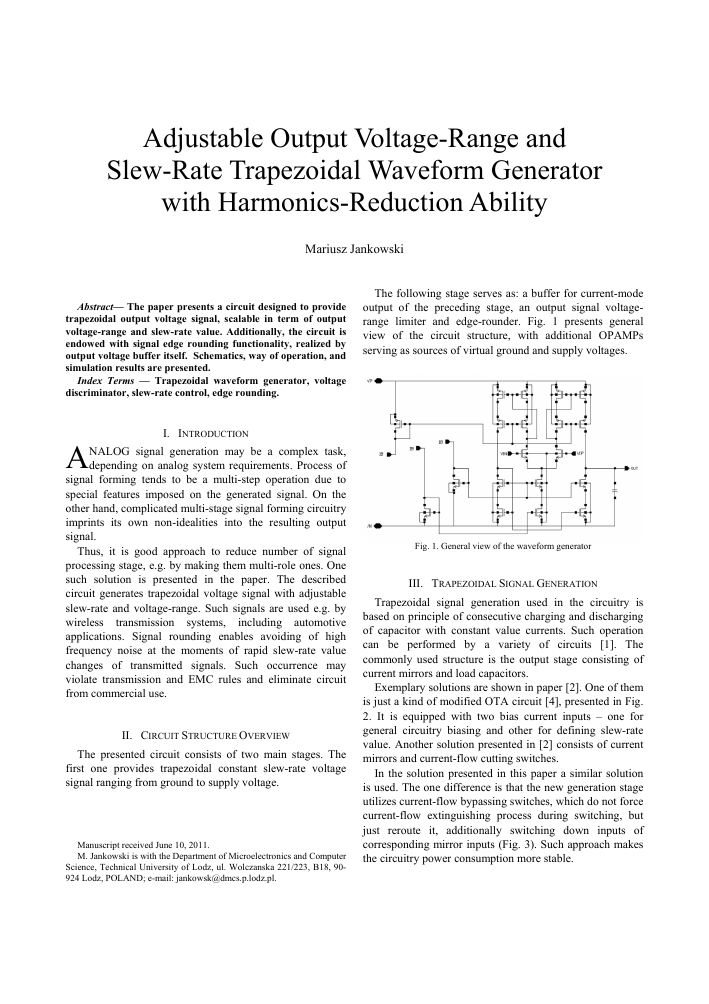 Adjustable Output Voltage Range And Slew Rate Trapezoidal Waveform Circuit As Shown In Fig This Can Be A Signal