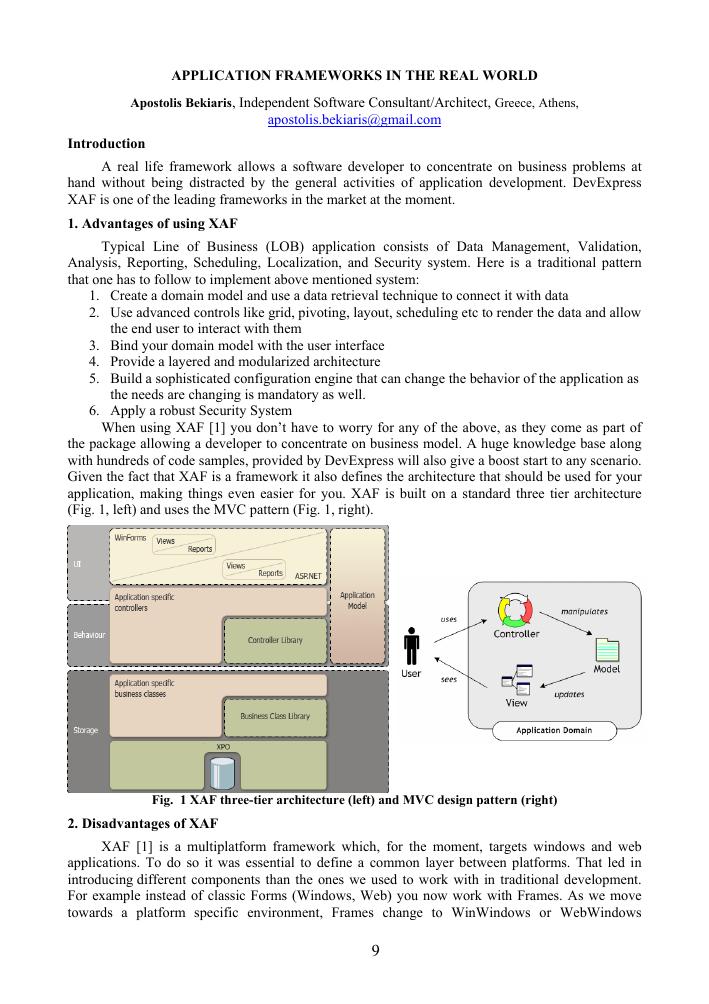 Application frameworks in the real world – тема научной статьи по