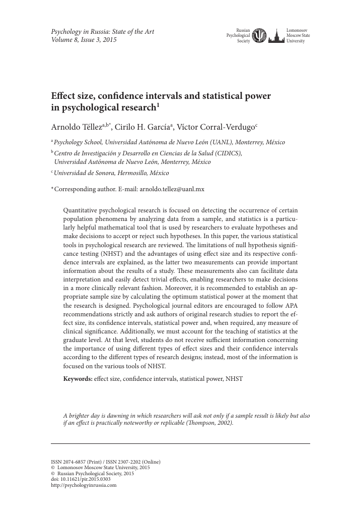 effect size confidence intervals and statistical power in  Показать еще