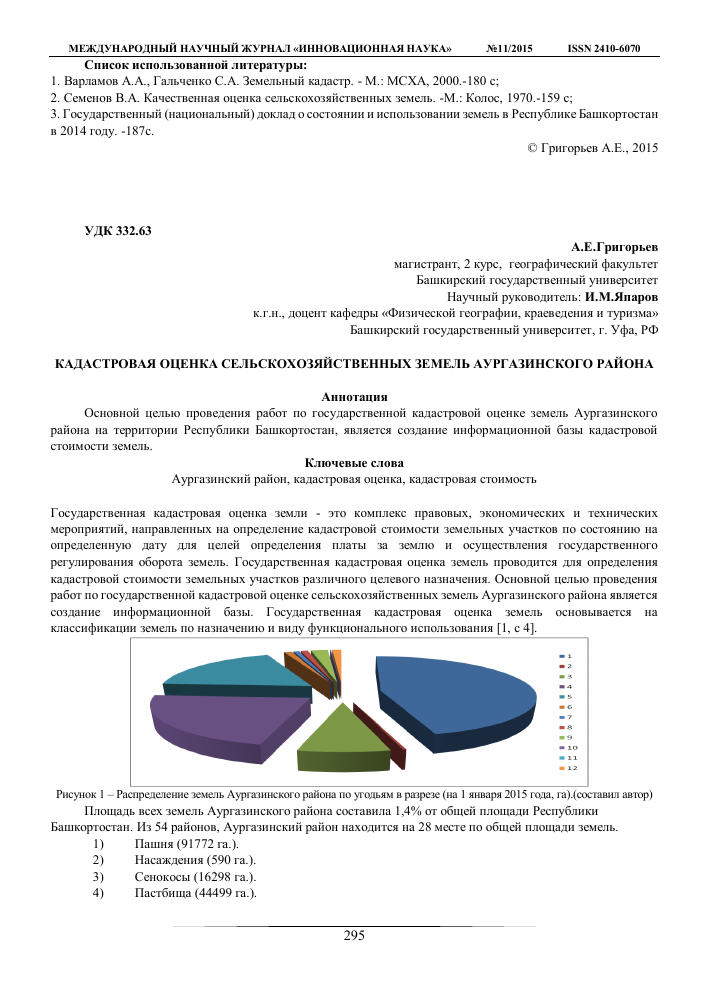 Кадастровая оценка земельного участка реферат 4979