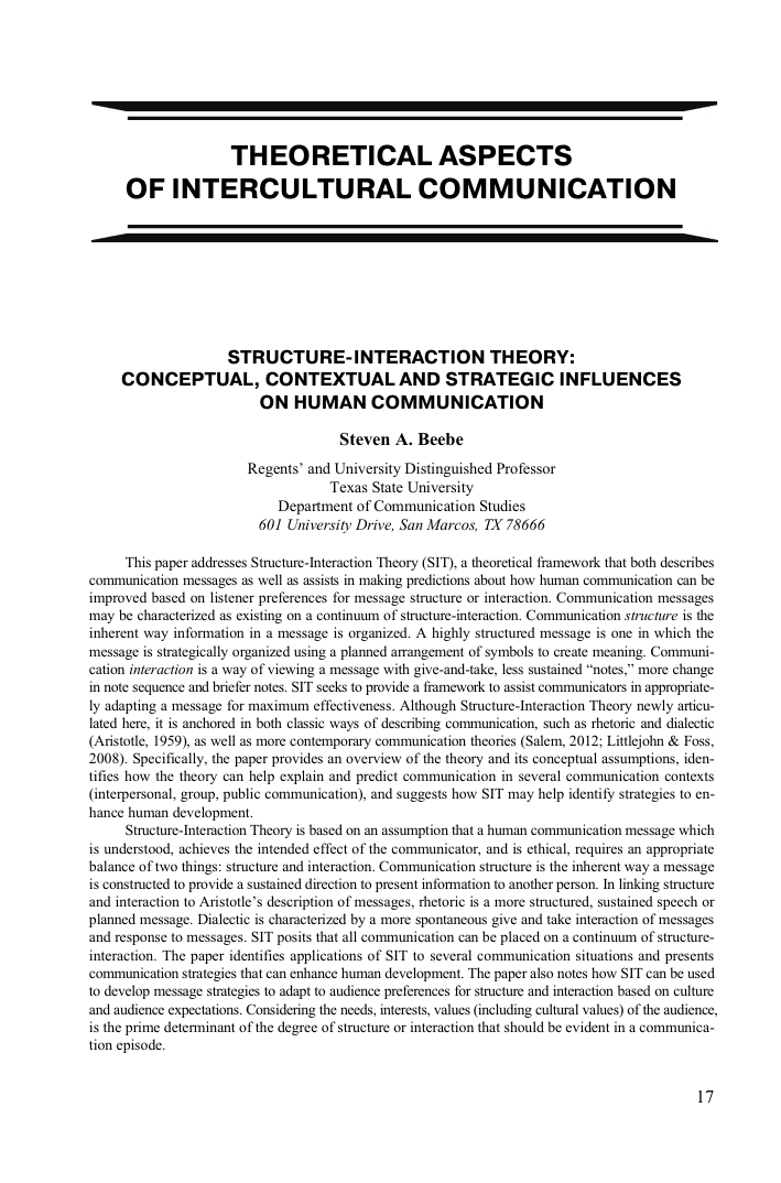 Structure-interaction theory: conceptual, contextual and