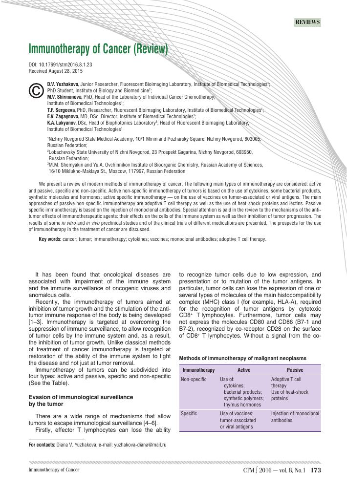 Immunotherapy of Cancer (review) – тема научной статьи по медицине и