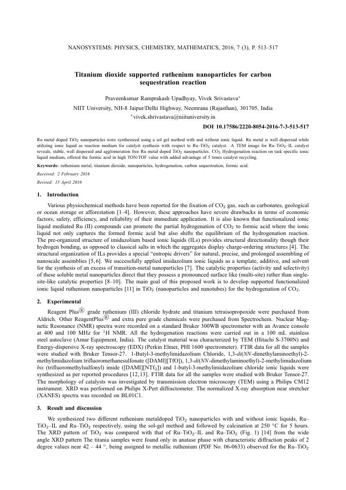 Titanium dioxide supported ruthenium nanoparticles for