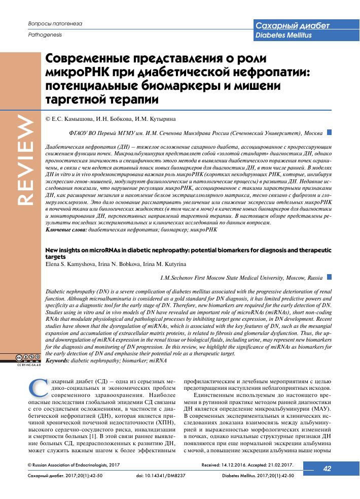 Современные представления о роли микроРНК при диабетической