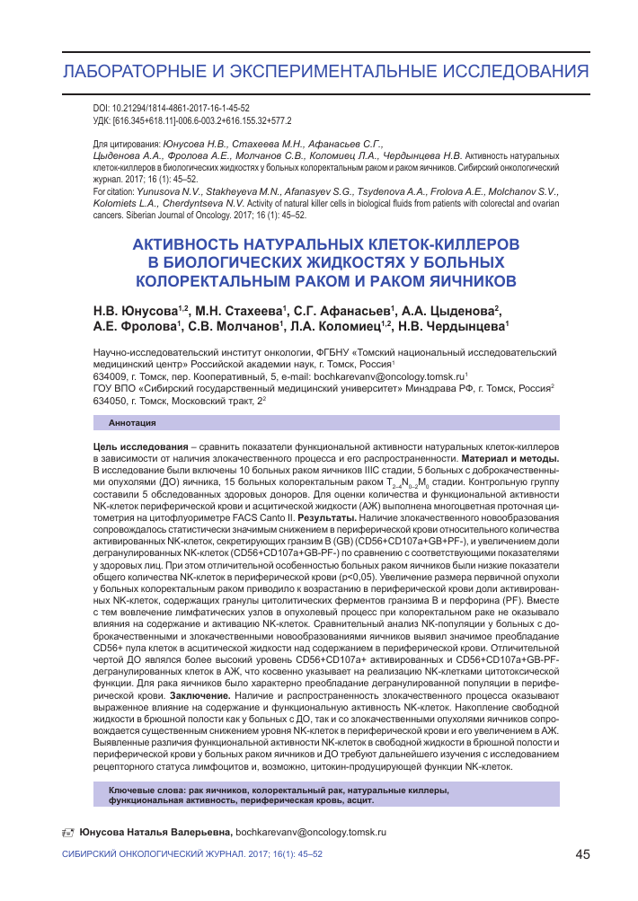 Цитотоксическая активность натуральных киллеров