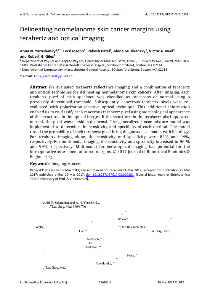 Delineating nonmelanoma skin cancer margins using terahertz and