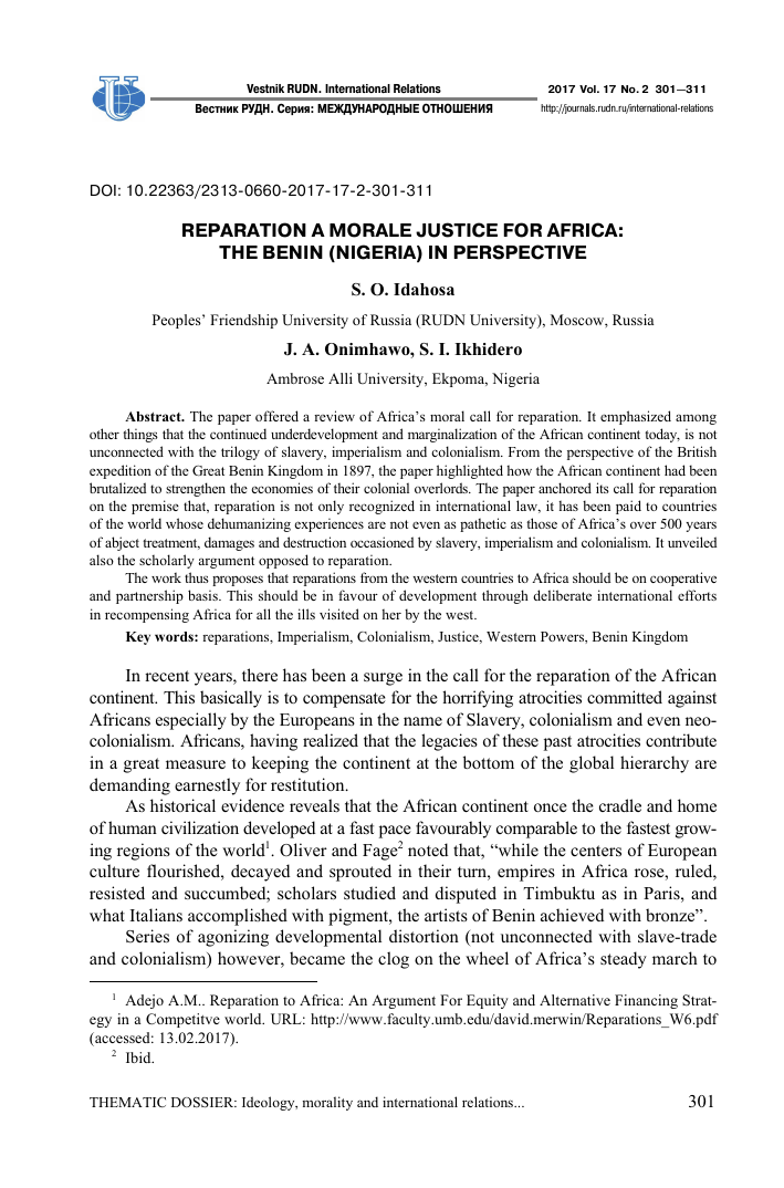 Reparation a morale justice for Africa: the Benin (Nigeria