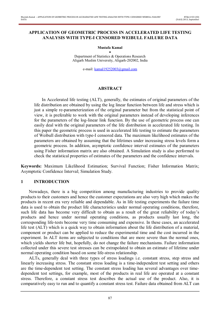 Application of geometric process in accelerated life testing