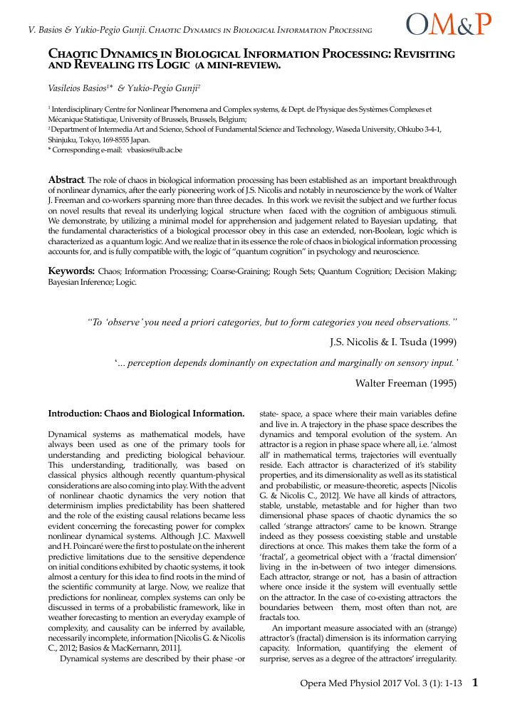 Chaotic dynamics in biological information processing revisiting ibookread ePUb