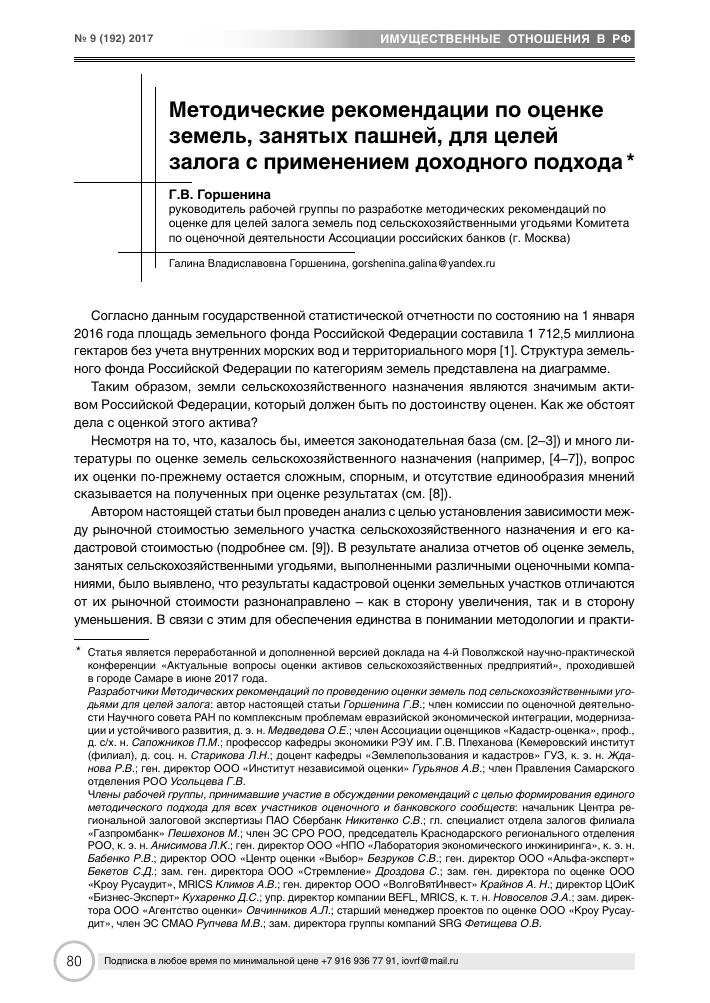 Методические рекомендации по оценке земель, занятых пашней, для ... 7febbd02a76