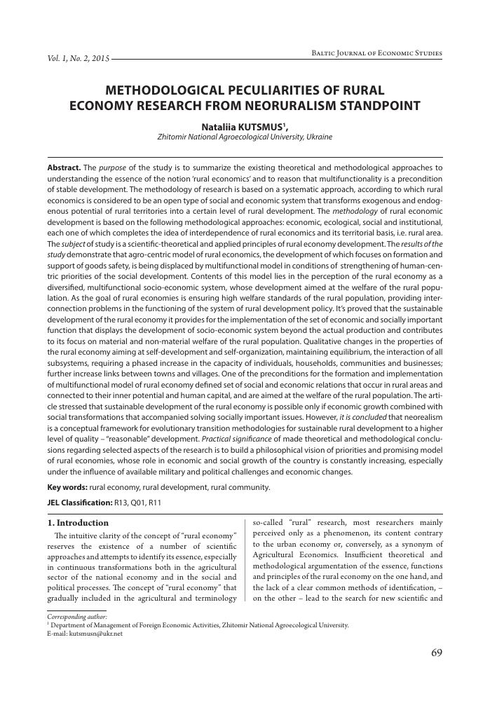 Methodological Peculiarities Of Rural Economy Research From