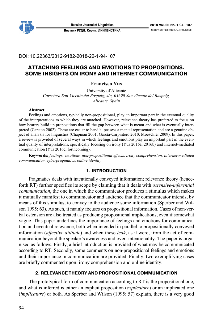 Attaching feelings and emotions to propositions  Some
