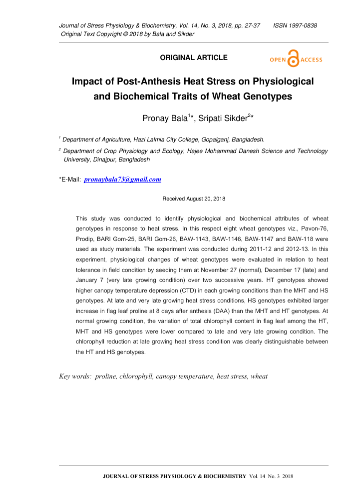 Impact of Post-Anthesis Heat Stress on Physiological and