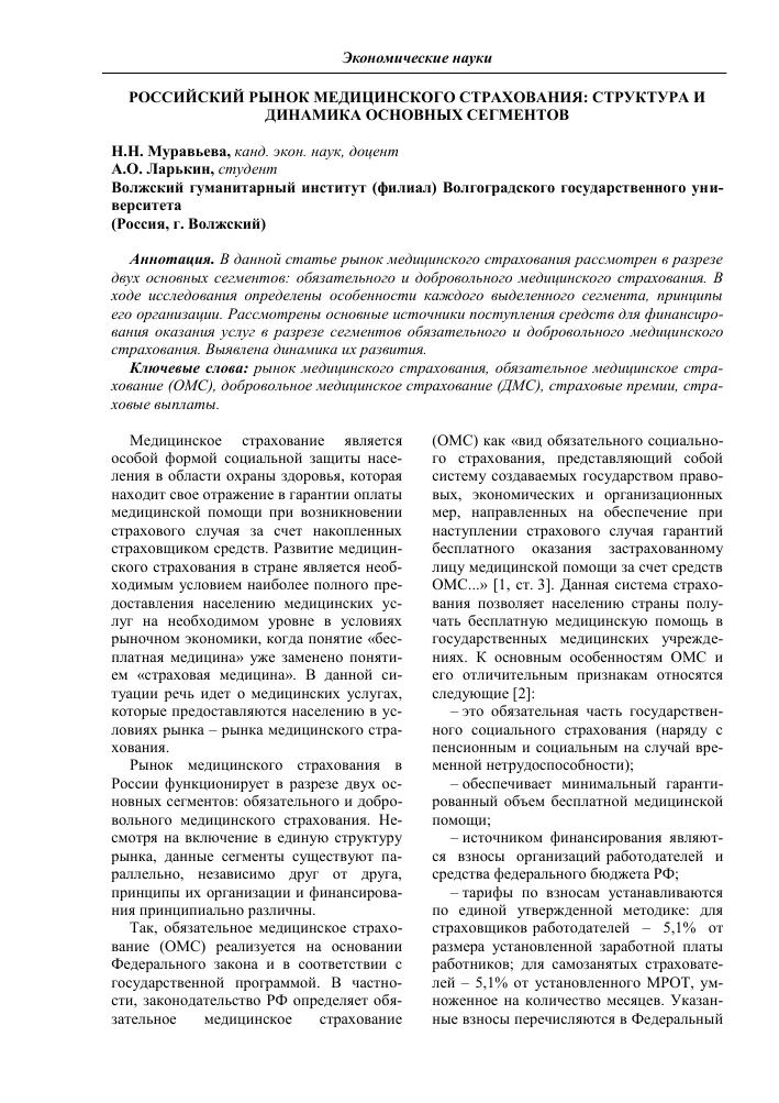 рынок добровольного медицинского страхования в россии