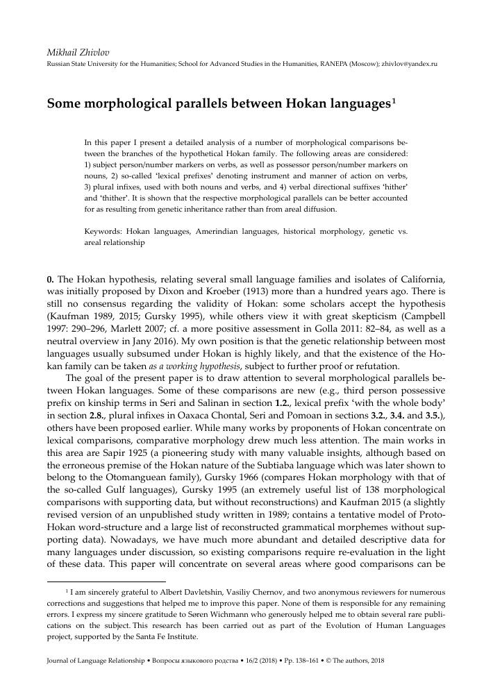 Some morphological parallels between Hokan languages – тема