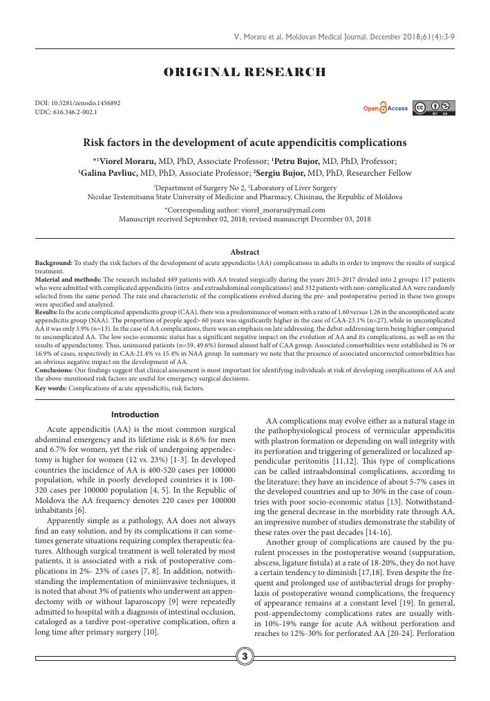 Risk factors in the development of acute appendicitis