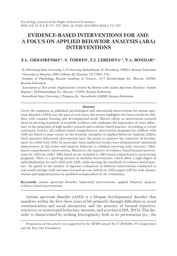EVIDENCE-BASED INTERVENTIONS FOR ASD: A FOCUS ON APPLIED