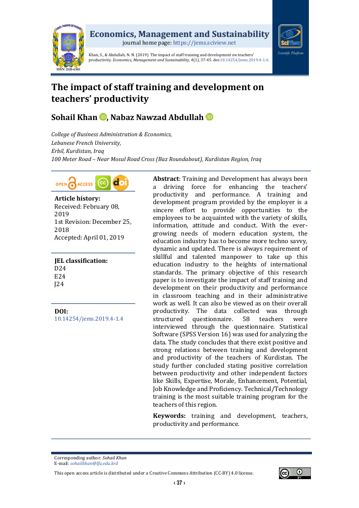 The impact of staff training and development on teachers