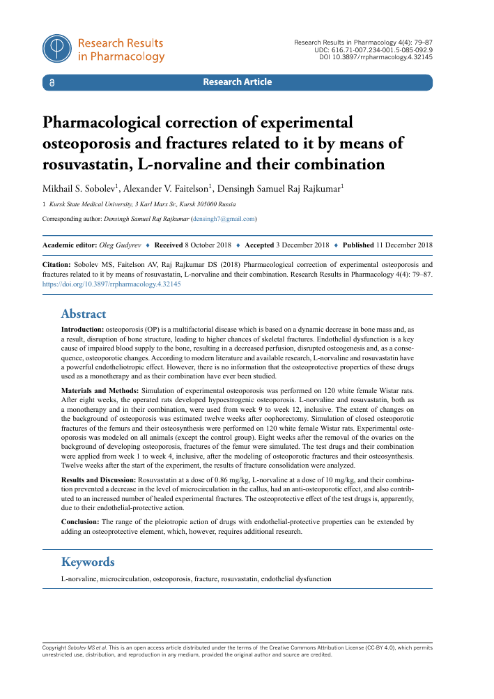 PHARMACOLOGICAL CORRECTION OF EXPERIMENTAL OSTEOPOROSIS AND